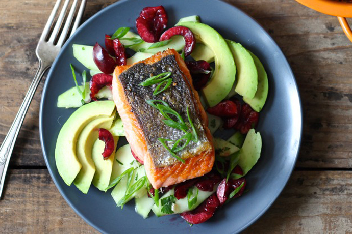 Salmon with Cherries, Avocado and Cucumbers | Borrowed Salt