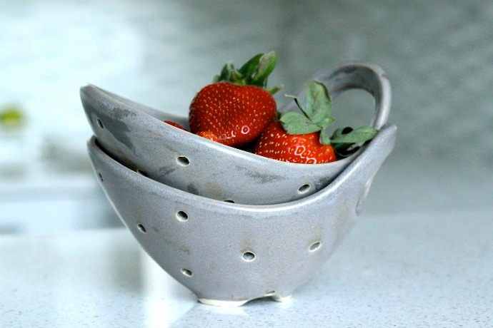 3 handmade pottery berry bowls ready to be filled with this season's spoils