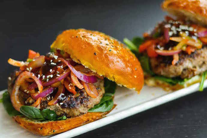 Delicious burger recipes from around the world for your Labor Day cookouts.