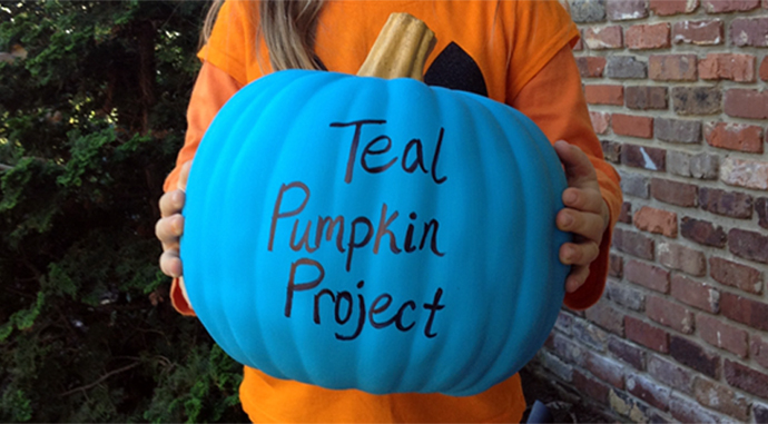 Teal Pumpkin Project: Put out a teal Halloween pumpkin to let trick-or-treaters with allergies know you have non-food treats for them too.