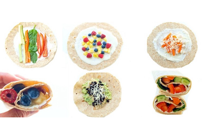 One of our favorite school lunch meals that kids can make themselves: Any of these easy wrap ideas at Super Healthy Kids. Simple, healthy & delicious!