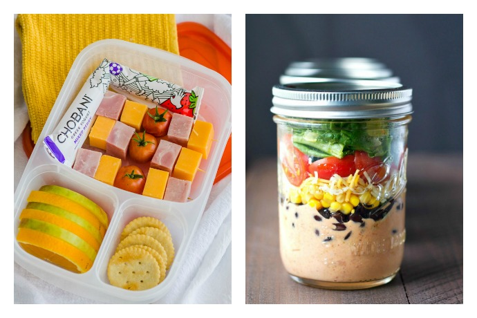 A round up of high protein school lunch ideas on Cool Mom Eats including simple bento ideas from Easy Lunchboxes and a Mason Jar Taco Salad The Seasoned Mom