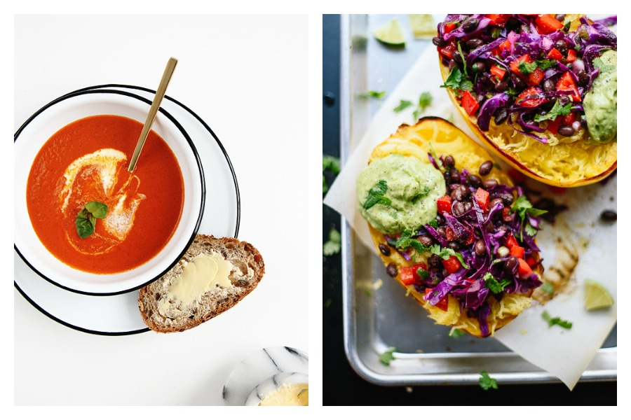 Cool Mom Eats meal plan: This week, we're keeping it easy and light with recipes like the 20-Minute Tomato Soup at The Faux Martha, Spaghetti Squash Burrito Bowls at Cookie + Kate, and more.