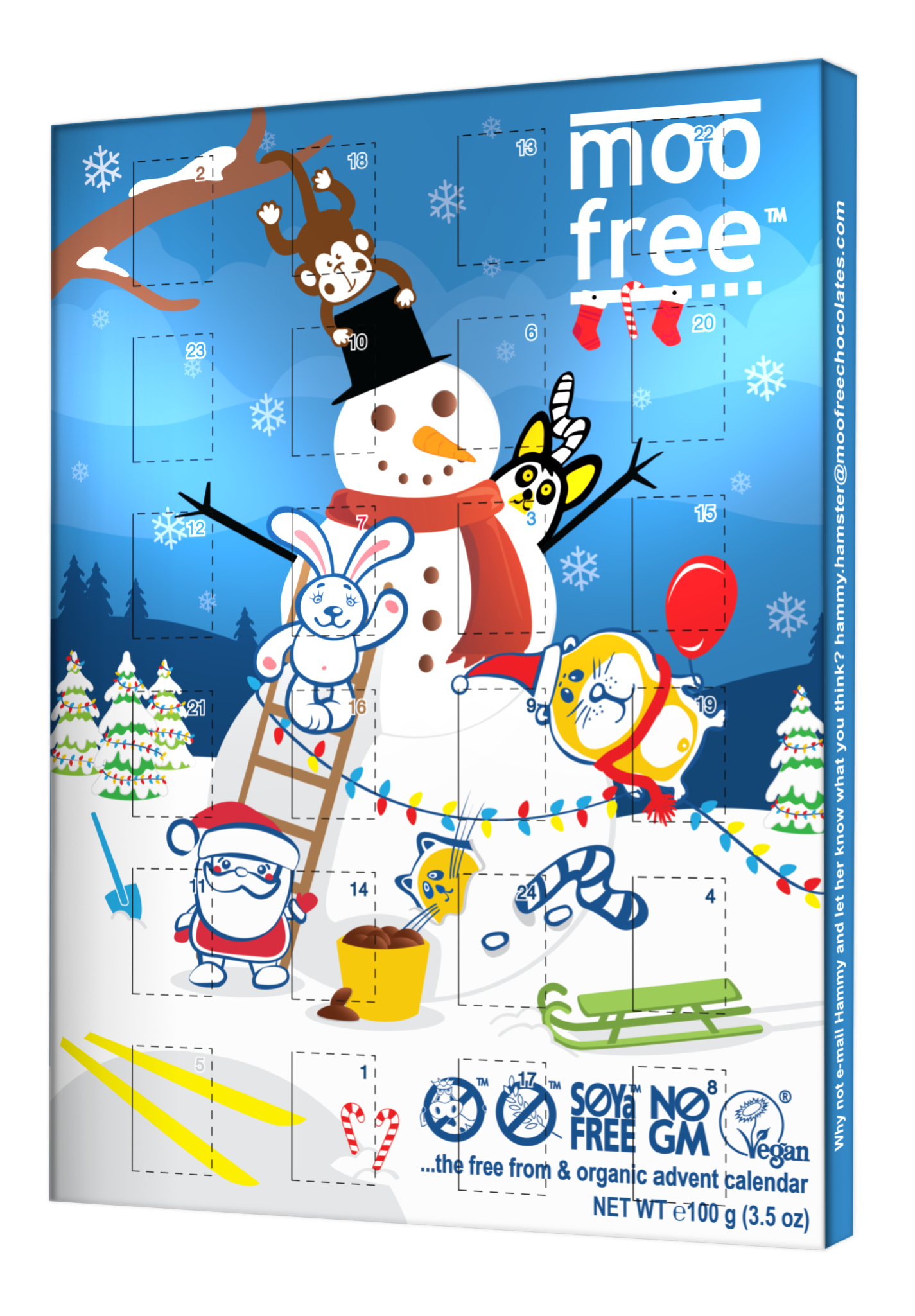 Moo Free makes a dairy- and gluten-free chocolate advent calendar.