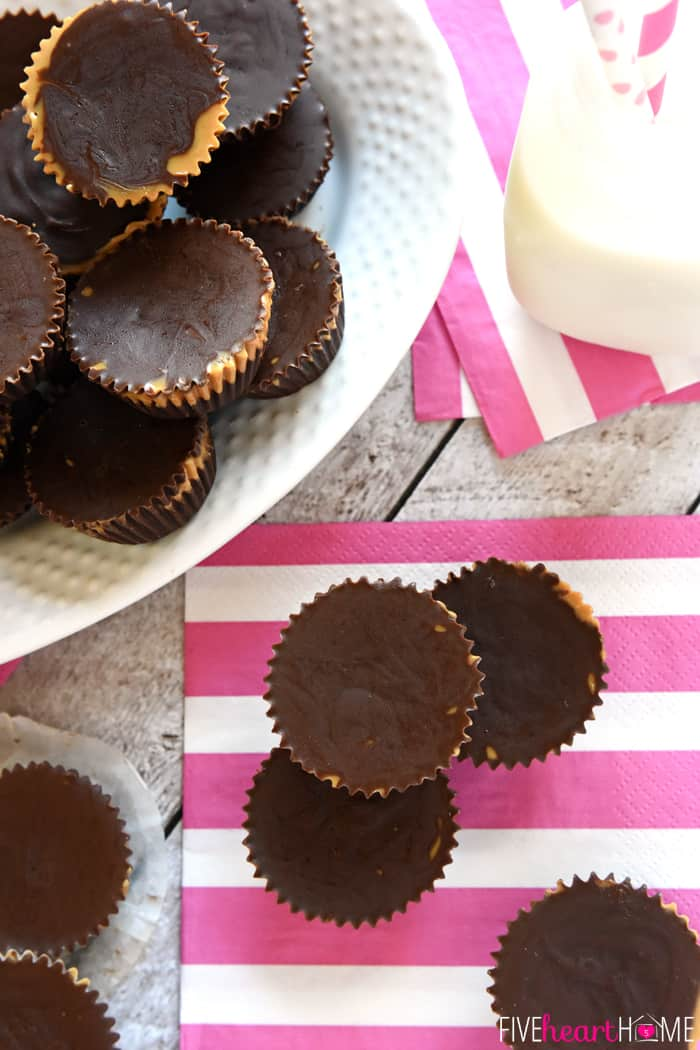 Copycat movie theater candy recipes: Reeses cups from Five Heart Home are all natural and just 3 ingredients