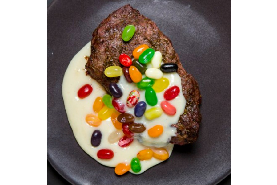 A Recipe For Milk Steak With Raw Jelly Beans At Cooks