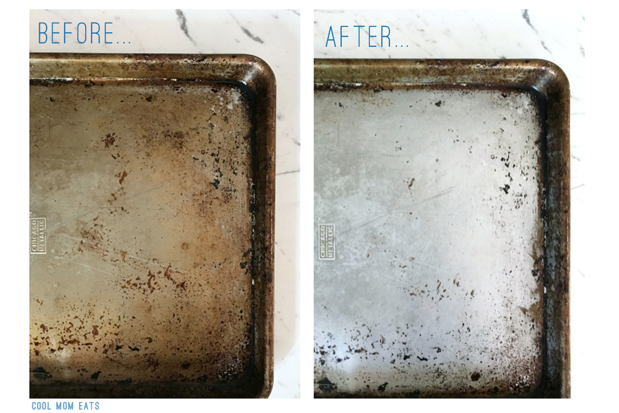 How to clean burnt cookie sheets with an easy homemade solution.