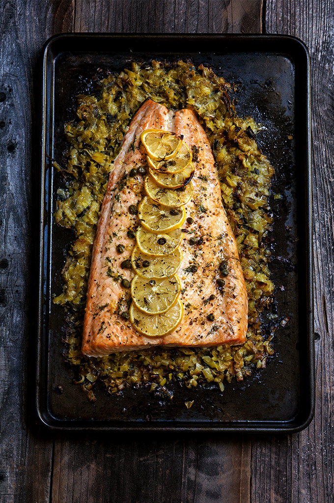 Cool Mom Eats weekly meal plan: Baked Salmon with Creamy Leeks at Viktoria's Kitchen