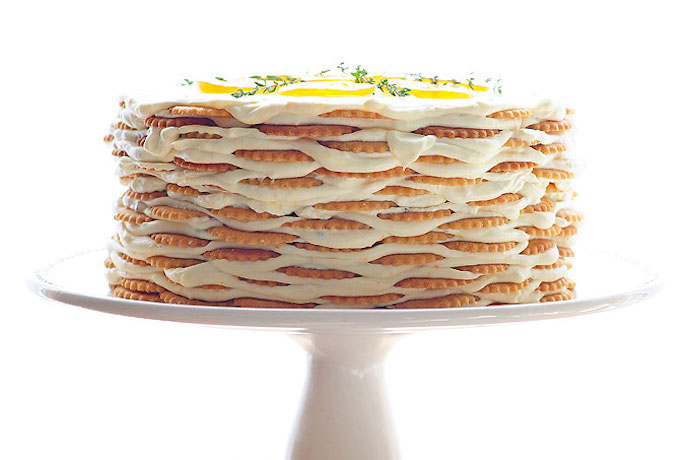 Easy no bake cake recipes for a no oven summer: Meyer Lemon Thyme Icebox Cake at She Wears Many Hats