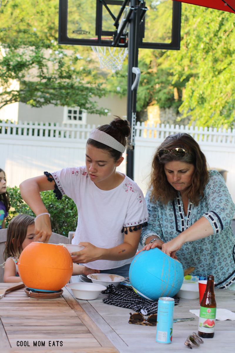The kids and grown-ups loved making homemade ice cream with the YayLabs SoftShell Ice Cream Ball.   © Jane Sweeney for Cool Mom Eats