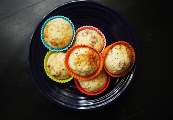Make-ahead school lunch recipes you can store in the freezer: Ham and Cheese Muffins at One Hungry Mama