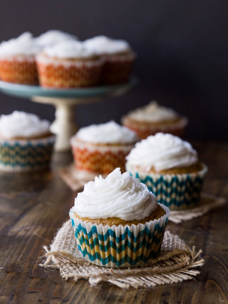 Dessert recipes with vegetables: Sweet Potato Cupcakes with Salted Coconut Oil Frosting | Veggie and The Beast