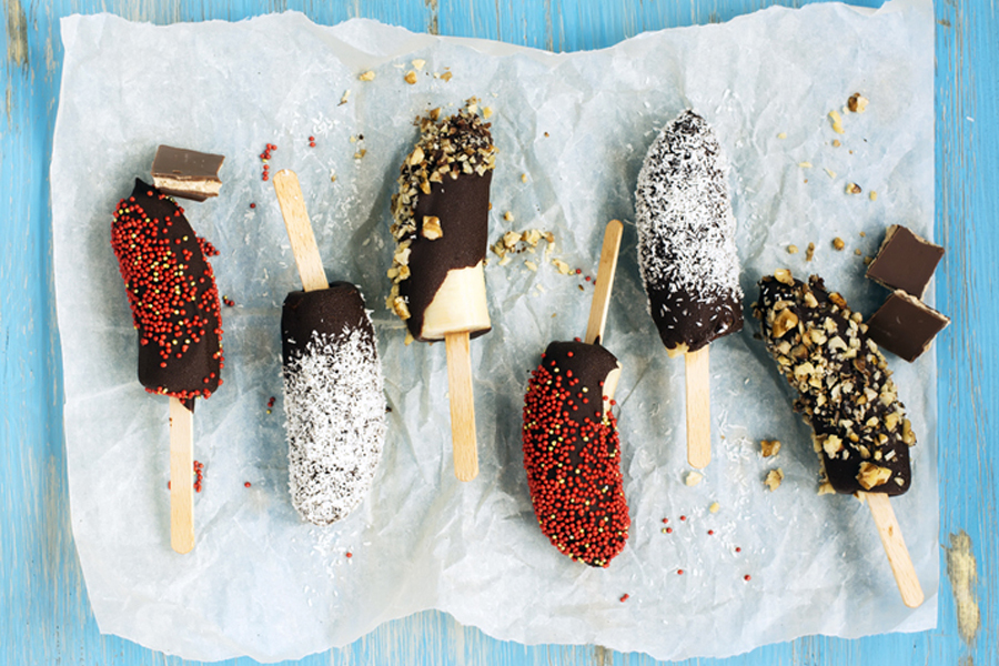An outrageous recipe for frozen chocolate covered bananas. Because, summer.