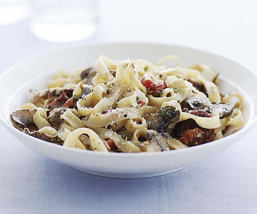 Best 30 minute meals for families: Fresh Pasta with Sausage and Mushrooms at Fine Cooking