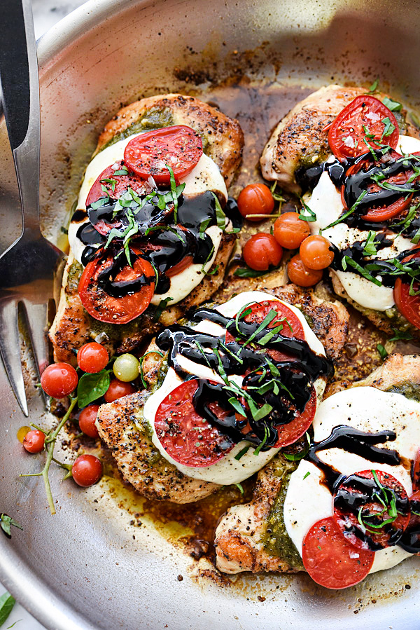 Cool Mom Eats weekly meal plan: 30-Minute Caprese Chicken at Foodie Crush