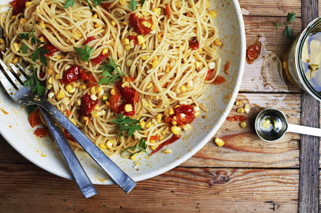 Cool Mom Eats weekly meal plan: Past with Corn, Slow Cooked Tomatoes, and Garlic Confit by Phyllis Grant at Food52