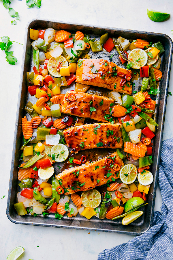 Cool Mom Eats weekly meal plan: Sheet Pan Thai Glazed Salmon at The Recipe Critic