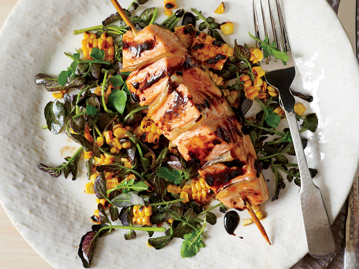 Cool Mom Eats weekly meal plan: Gingered Salmon with Grilled Corn and Watercress Salad | Photo by David Malosh for Food and Wine