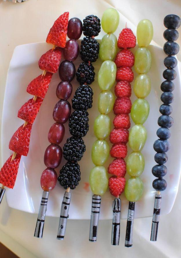 Star Wars recipes for Force Friday: Light Saber Fruit Skewers at Rookie Moms