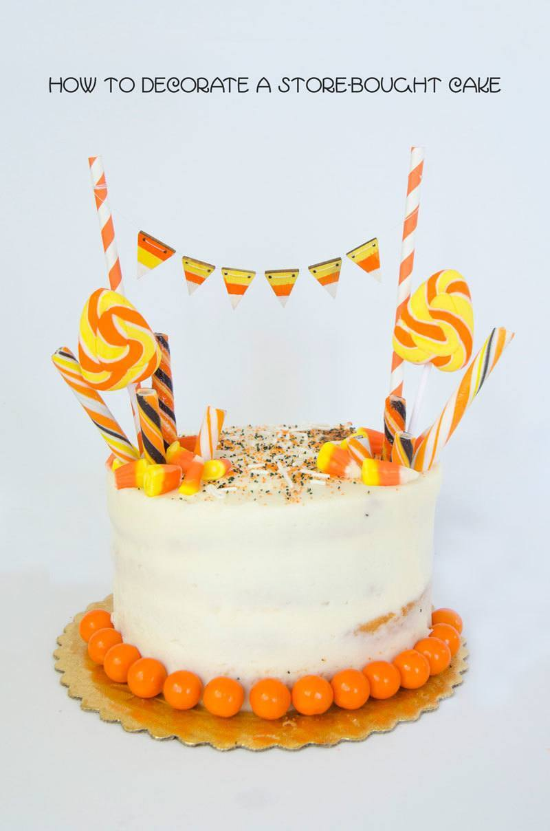 Ways to make over a store-bought cake: Candy Corn Cake | Love the Day