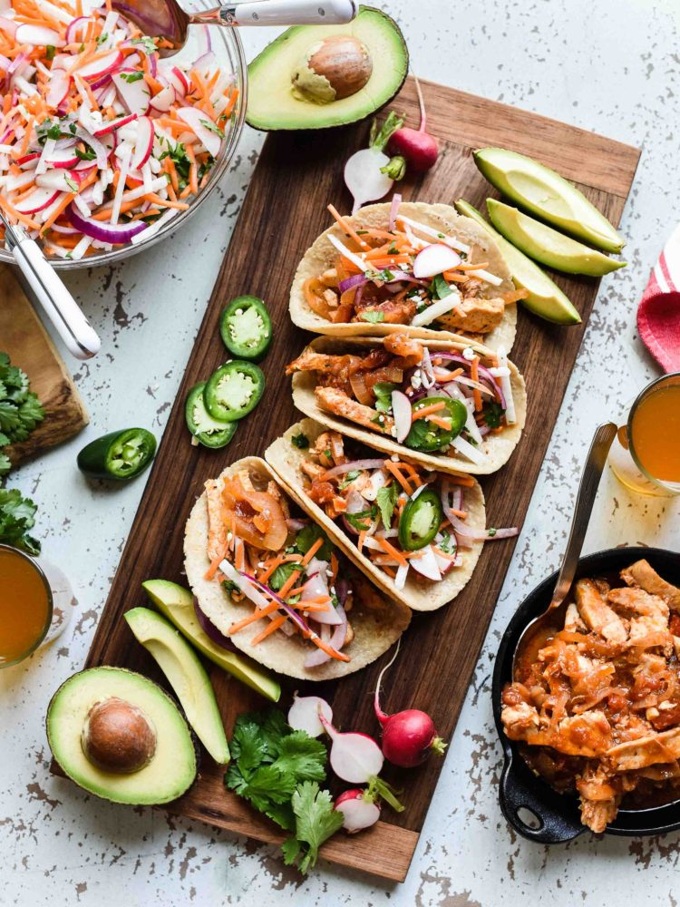 Cool Mom Eats weekly meal plan: Chipotle Chicken Tacos with Jicama Slaw at Kitchen Confidante