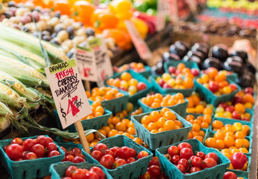 Great tips for getting kids excited about healthy eating when they're not at a table: Like taking them to a farmer's market