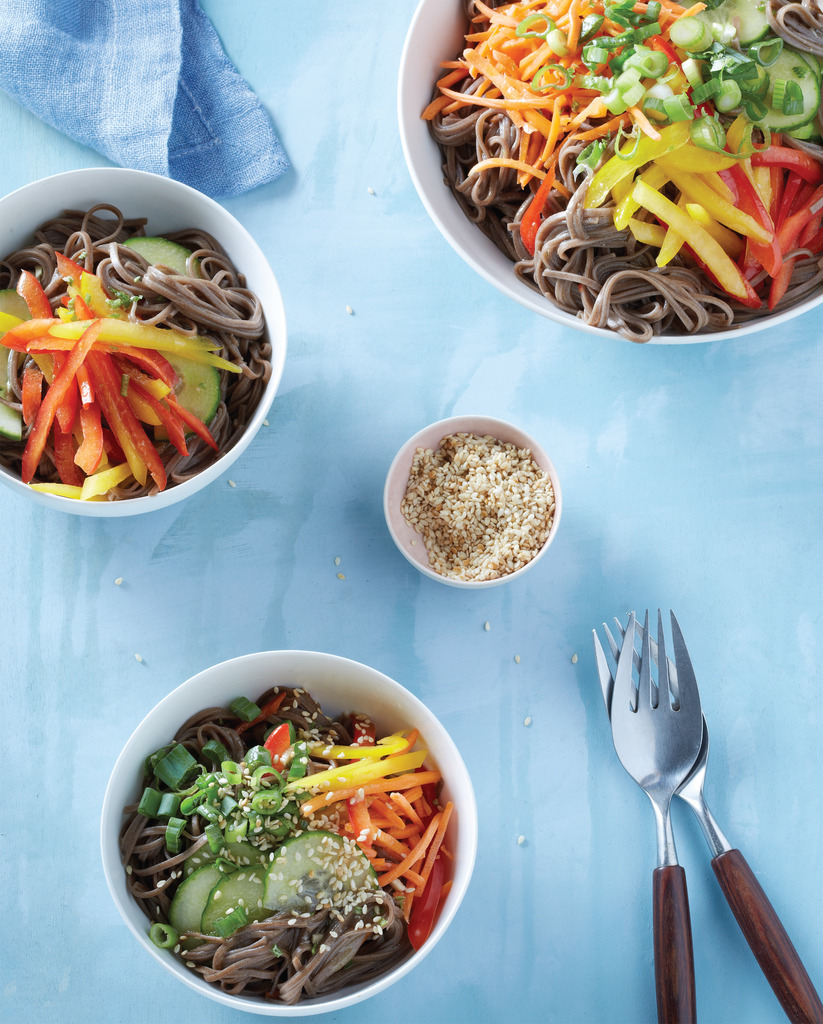 How to use leftover pasta for school lunch: Cold Soba Noodle Salad from the MAKE IT EASY COOKBOOK and more ideas at Cool Mom Eats
