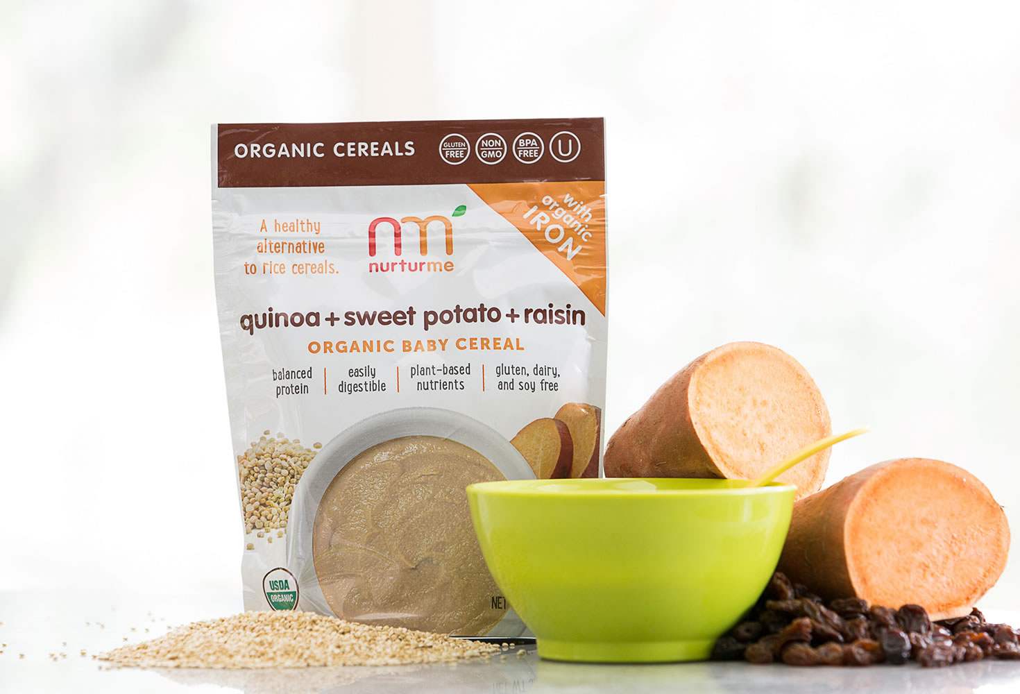 NurturMe quinoa cereal is loaded with nutrients from superfoods, plus an added daily RDA of probiotics to help babies with tummy health | coolmomeats.com | sponsor