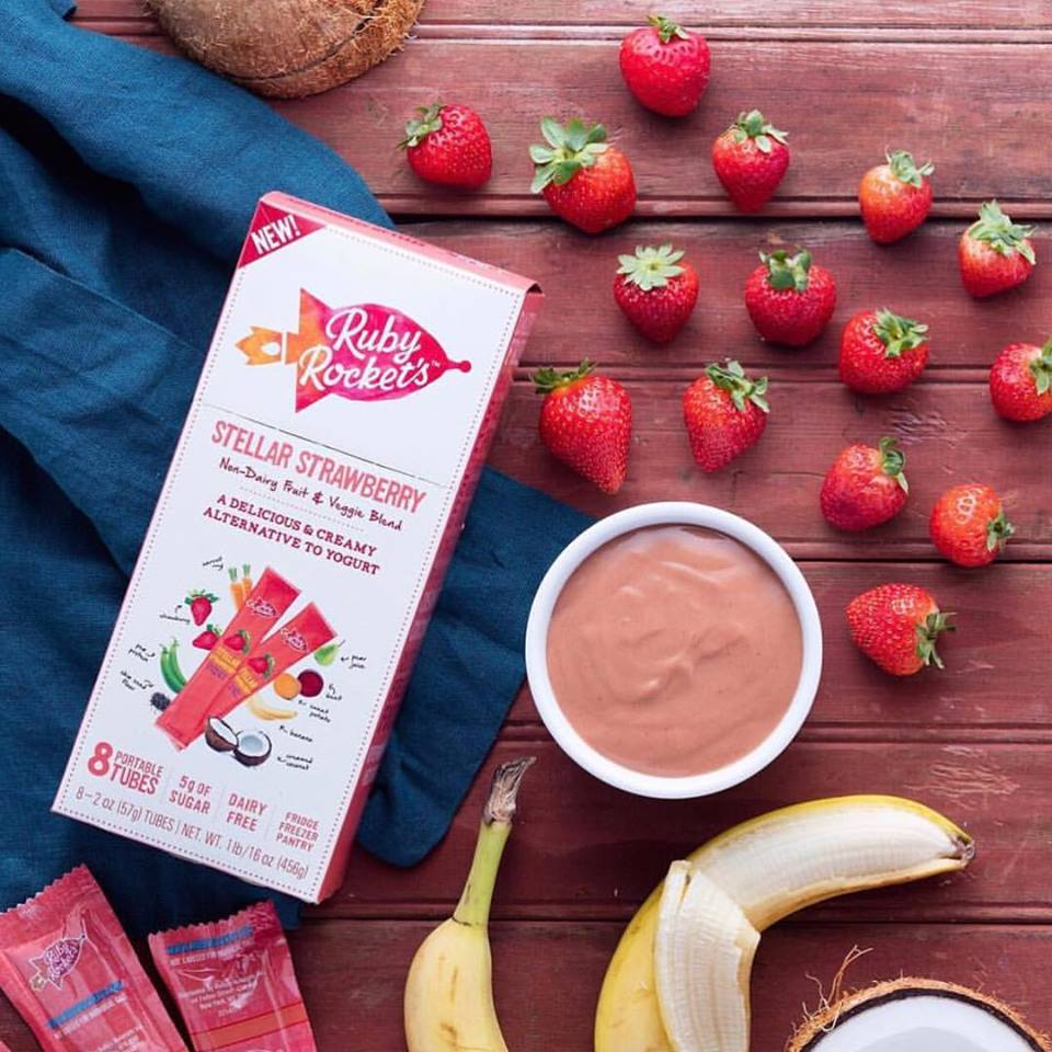 Allergy-free snacks that you can find at the supermarket for easy back-to-school lunches: Ruby Rockets non-dairy yogurt tubes   Cool Mom Eats