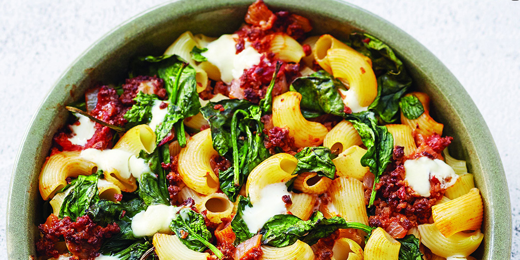 Cool Mom Eats weekly meal plan: Baked Spinach Macaroni at Peapod's recipe site, FromthePod.com
