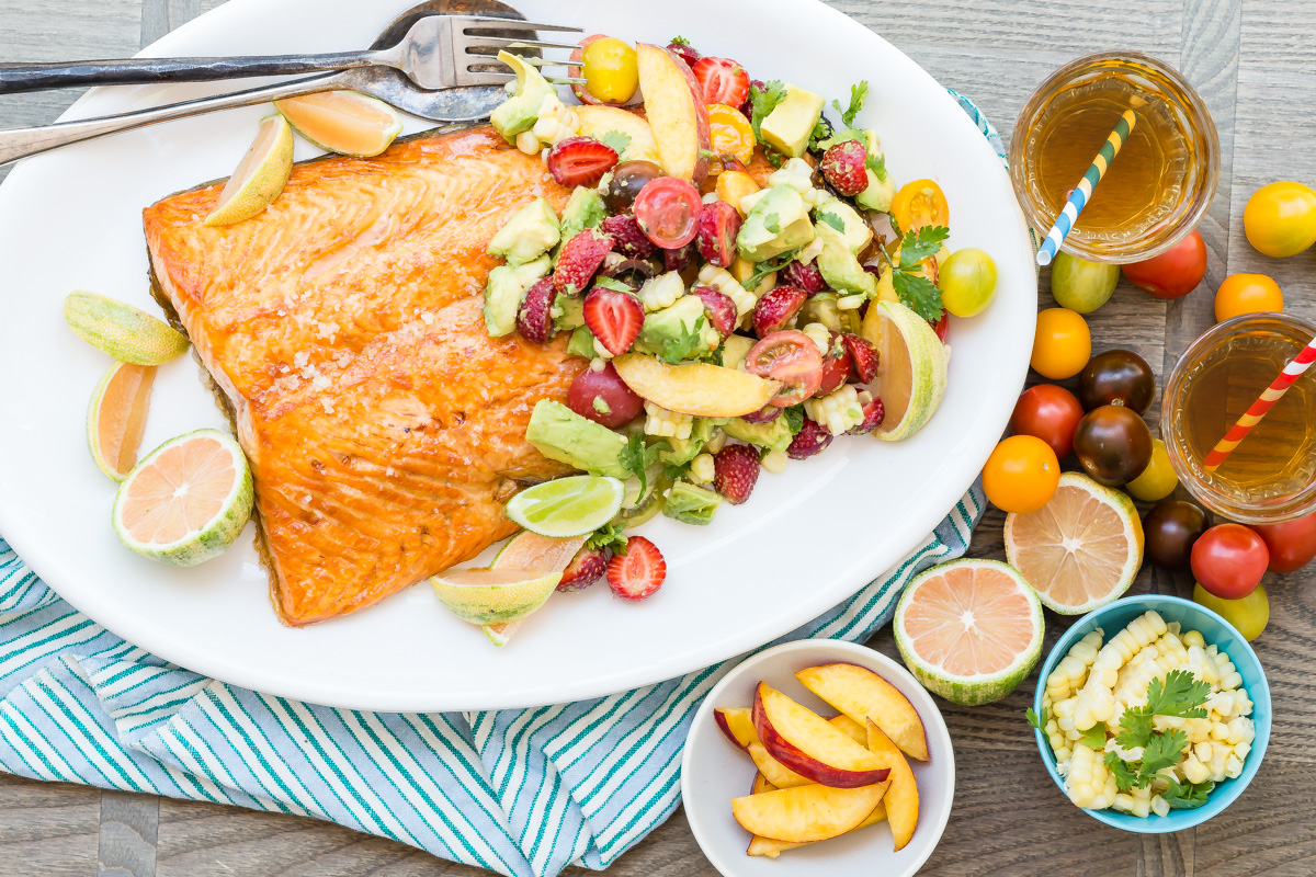 Cool Mom Eats weekly meal plan: Broiled Salmon with Summer Fruit Salad at Weelicious