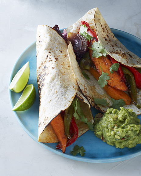 Cool Mom Eats weekly meal plan: Sheet Pan Veggie Fajitas from the Make It Easy cookbook by our editor Stacie Billis