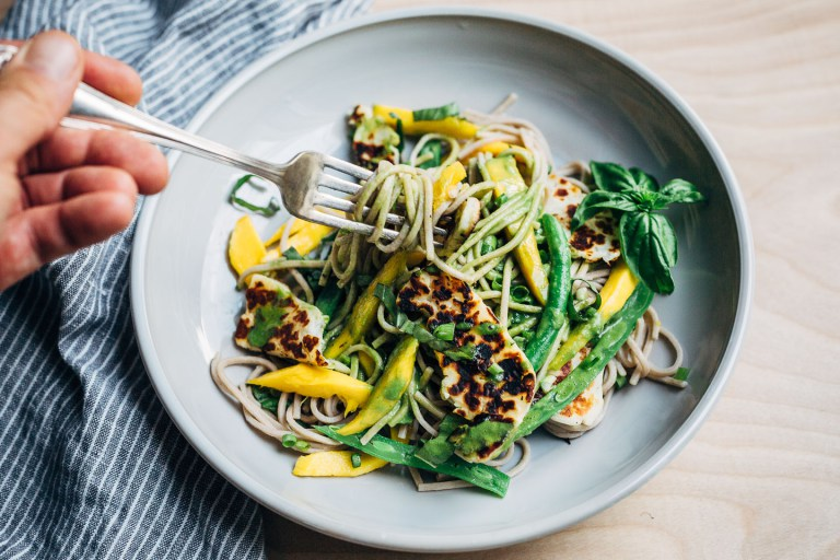 Cool Mom Eats weekly meal plan: Halloumi and Mango Noodles with Cilantro Coconut Dressing from the new cookbook, The Savvy Cook, at Brooklyn Supper