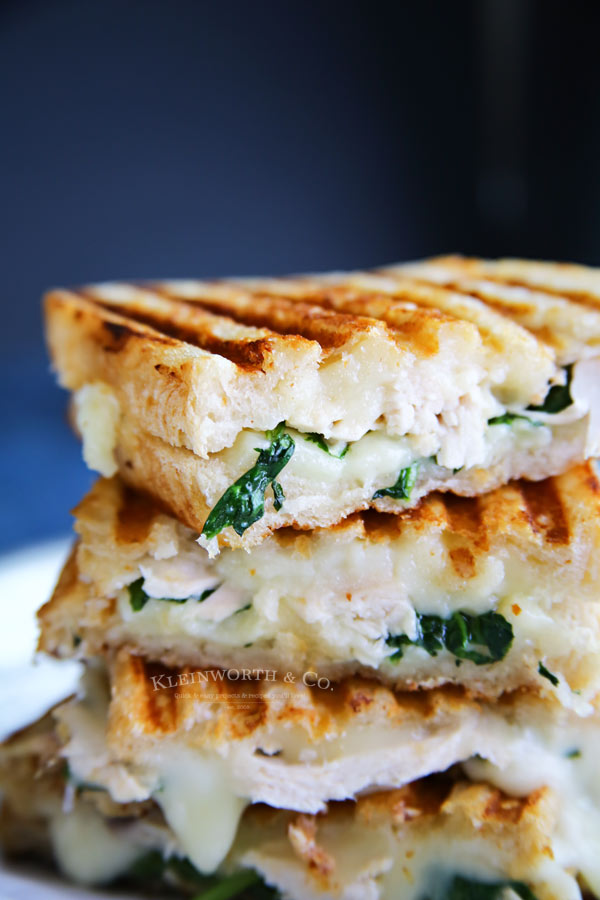 One of our favorite ways to enjoy grilled cheese for dinner: Chicken & Spinach Grilled Goat Cheese Sandwich | Kleinworth & Co.