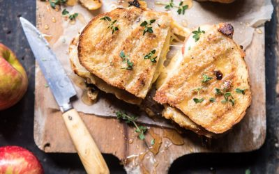 One of our favorite ways to enjoy grilled cheese for dinner: Honey, Apple, Cheddar & Bacon Panini | Half Baked Harvest