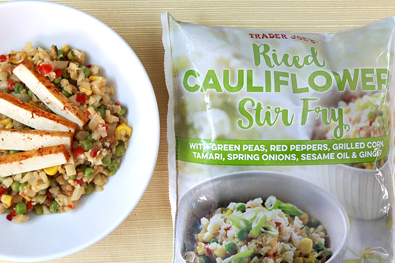 Our 15 favorite healthy Trader Joe's products to help make healthy eating easier: Riced Cauliflower Stir Fry | Cool Mom Eats
