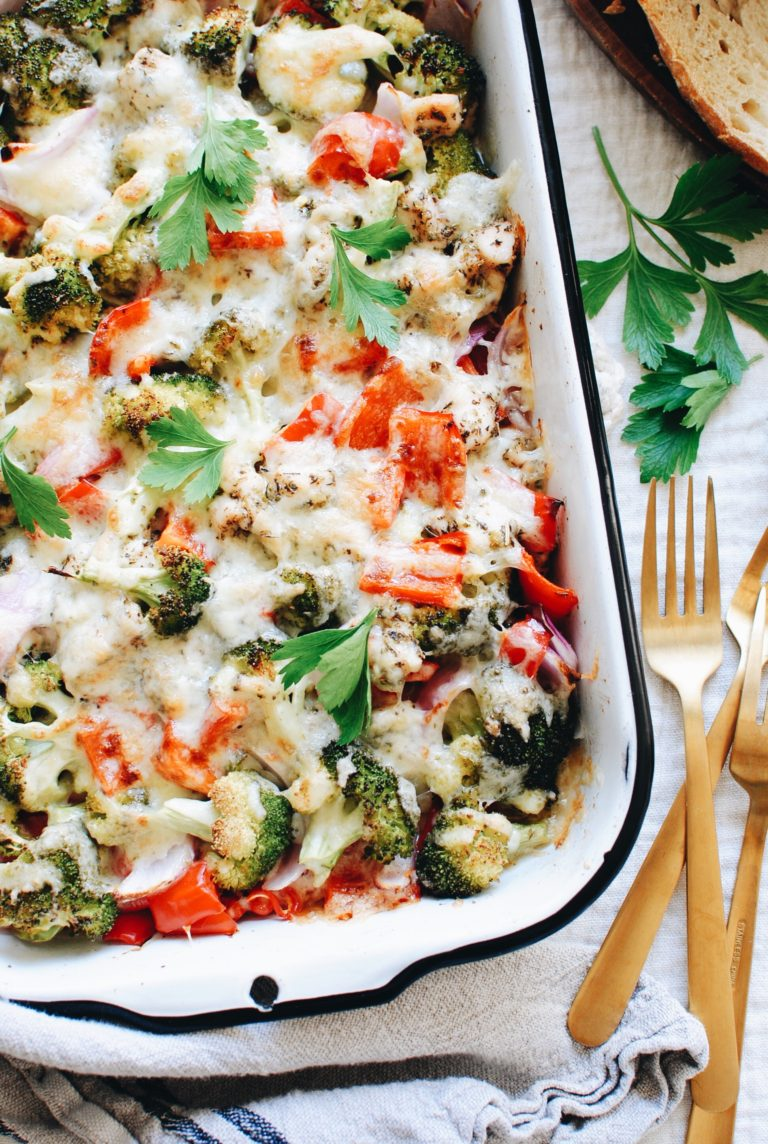 Cool Mom Eats weekly meal plan: Cheesy Chicken and Veggie Bake at Bev Cooks