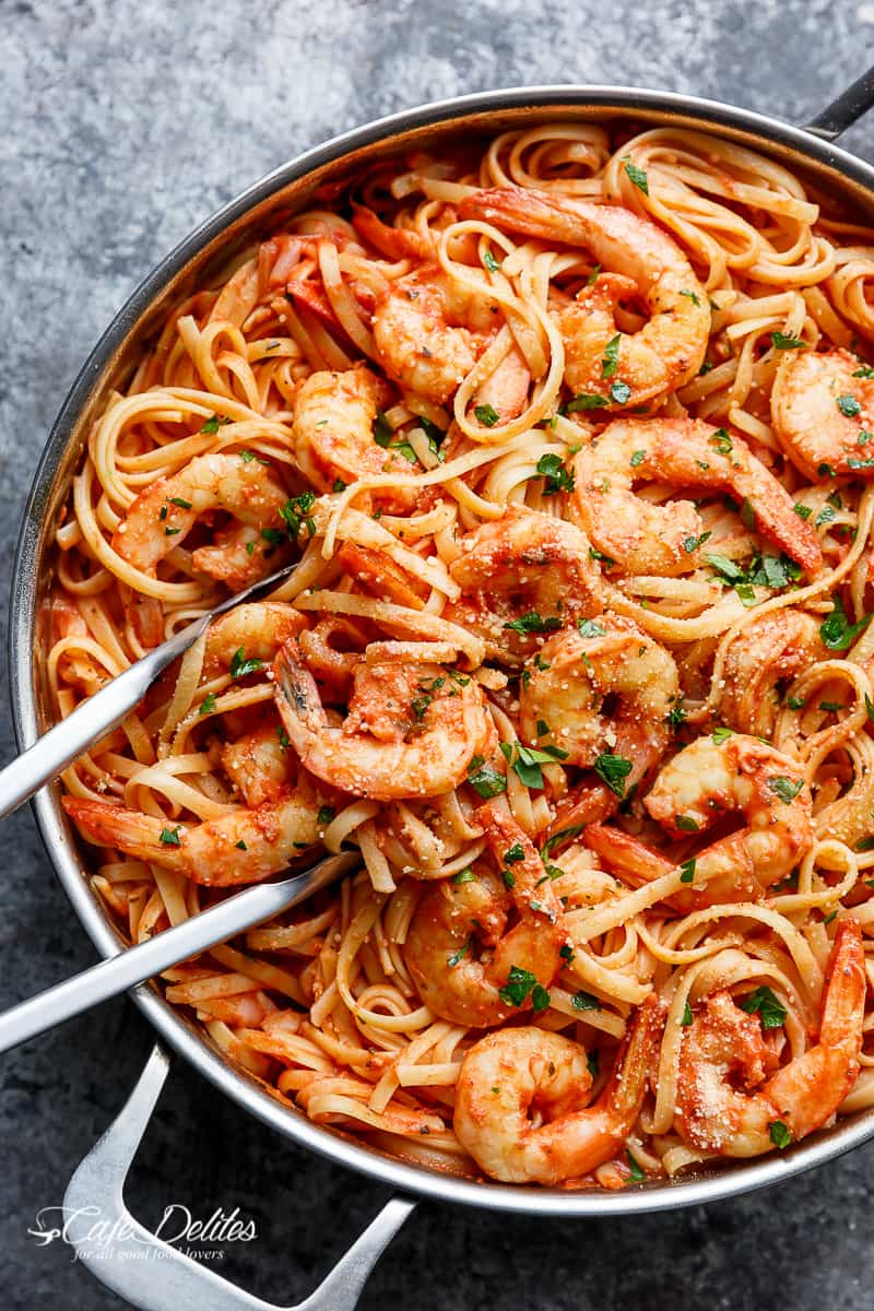 Cool Mom Eats weekly meal plan: Creamy Tomato Garlic Butter Shrimp at Cafe Delites
