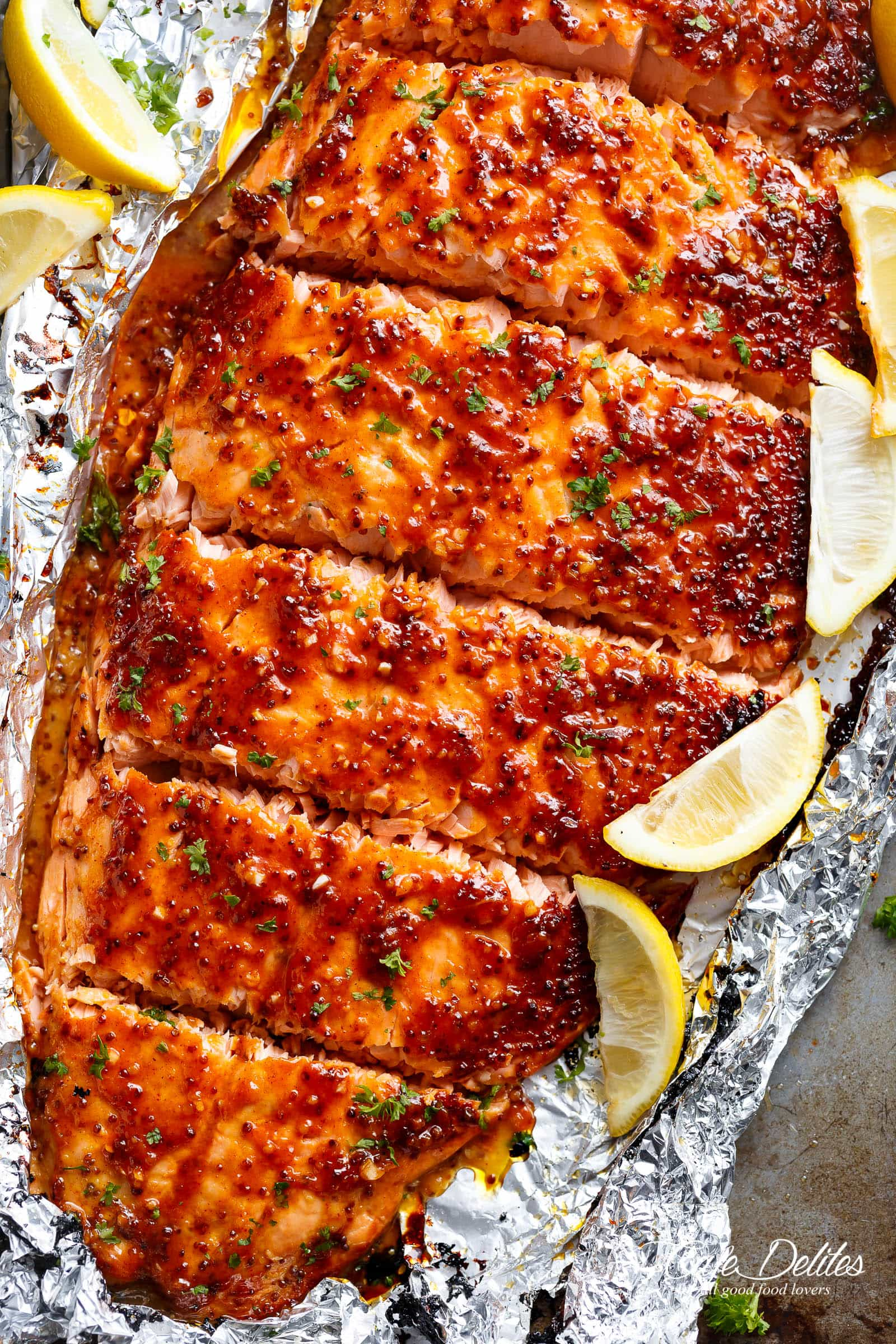 Cool Mom Eats weekly meal plan: Garlic Honey Mustard Salmon in foil at Cafe Delites