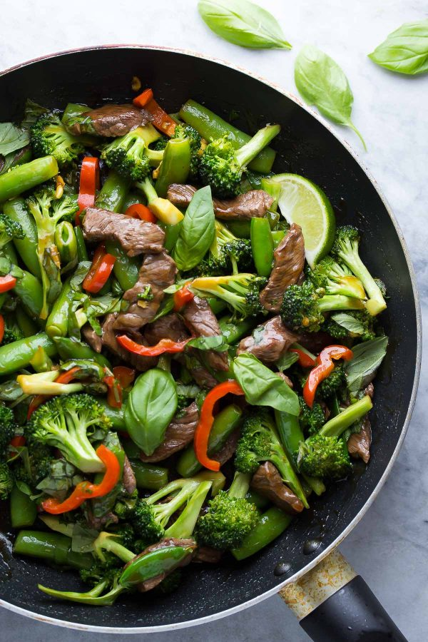 Cool Mom Eats weekly meal plan: Lime Beef Basil Stir Fry at Sweet Peas and Saffron