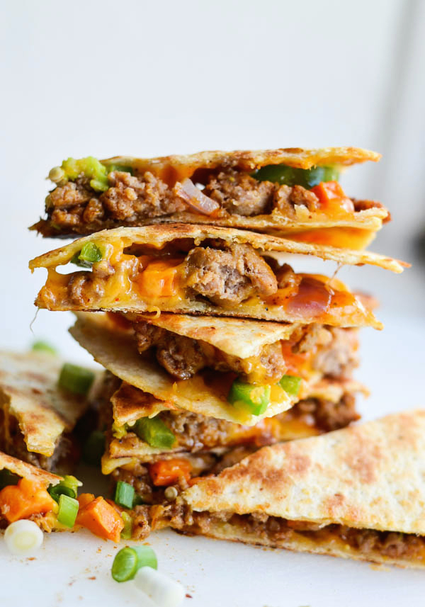 Cool Mom Eats weekly meal plan: Sausage and Sweet Potato Quesadillas at Rachel Schultz on Homemaking