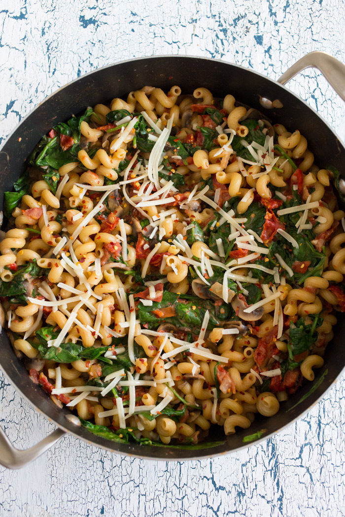 Cool Mom Eats weekly meal plan: One-Pot Pasta Florentine at Kitchen Treaty -- perfect for #MeatlessMonday
