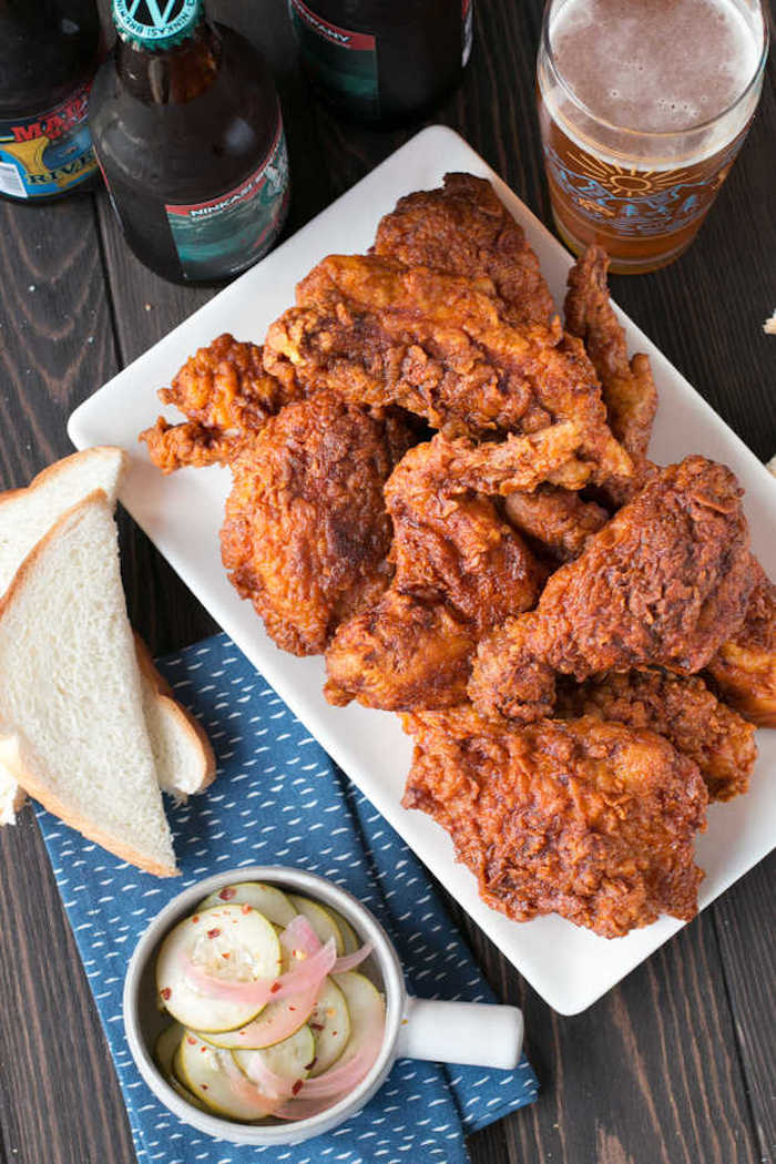 Nashville Hot Chicken with Quick Pickles at Cake n Knife
