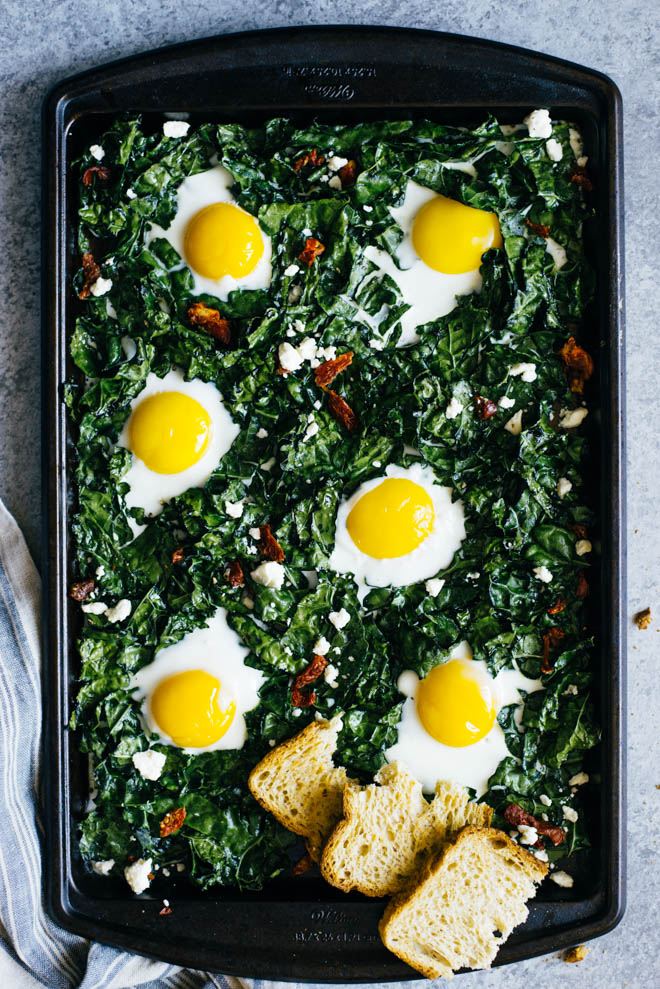 Sheet pan breakfasts: 15-Minute Kale and Egg Bake | Healthy Nibbles and Bits