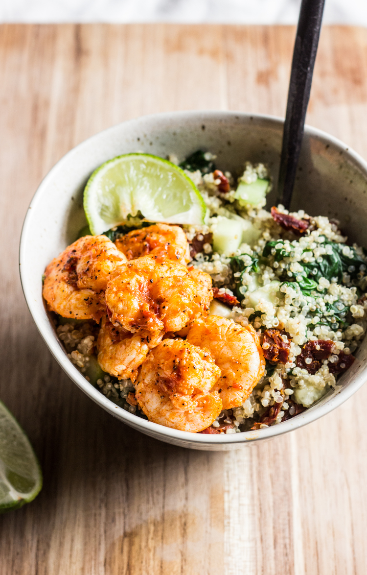 Cool Mom Eats weekly meal plan: Quinoa Bowls with Harissa Shrimp at The Whole Bite