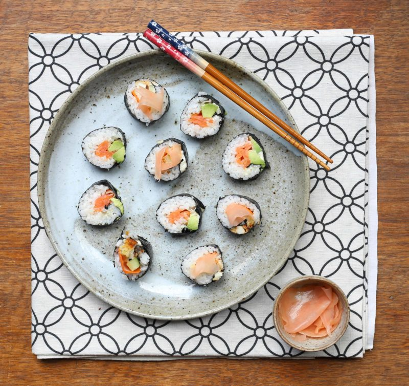 Easy on-the-go dinner recipes for when you have to eat going to or from after school activities: Kid-friendly Sushi at Slow Sundays