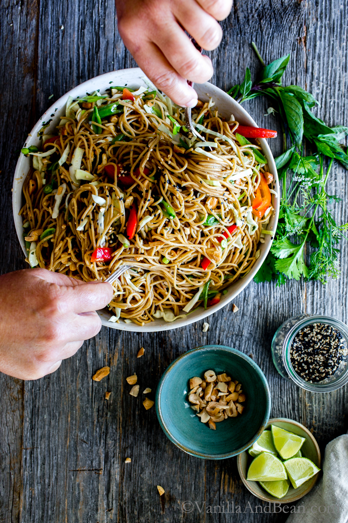 Easy on-the-go dinner recipes for when you have to eat going to or from after school activities: Ginger Noodle Salad at Vanilla and Bean