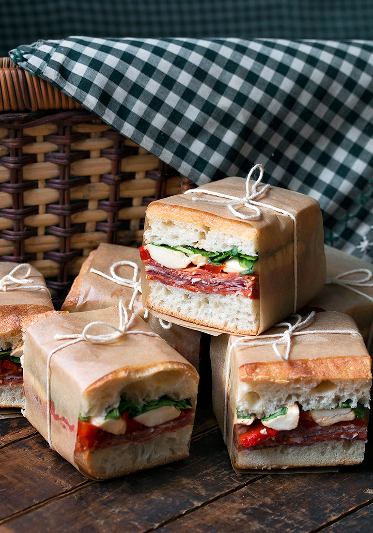 Easy on-the-go dinner recipes for when you have to eat going to or from after school activities: Pressed Italian Sandwiches at Seasons and Suppers