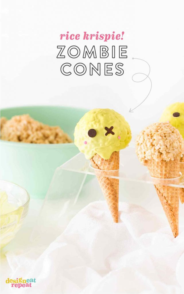 Easy Halloween treats for kids: Zombie Rice Krispies Cones | Design Eat Repeat