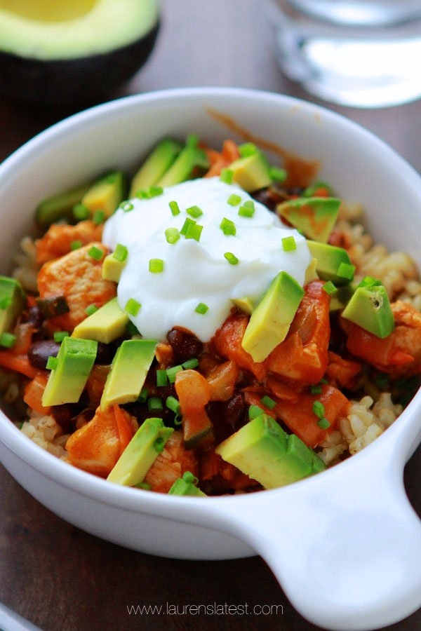 Cool Mom Eats weekly meal plan: 20-Minute Chicken Enchilada Bowl at Lauren's Latest